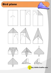 bird paper airplane origami diagram preview