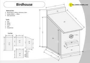 birdhouse drawing with cut list and material list preview