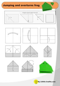 origami jumping and overturns frog diagram preview