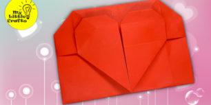 Origami Heart envelope for Valentine's day