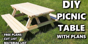 DIY picnic table with drawing and material list